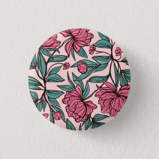 Lovely Hand Drawn Pink Floral | Pin Button