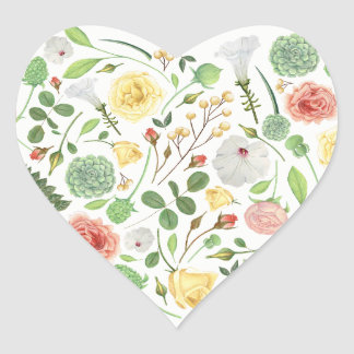 Lovely heart full of colorful summer flowers heart sticker