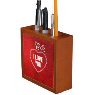 lovely Hearts red Desk Organizer