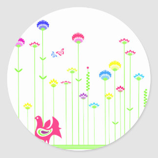 Lovely hen and flowers sticker