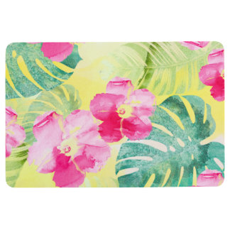 Lovely Hibiscus Flowers & Tropical Banana Leaves Floor Mat