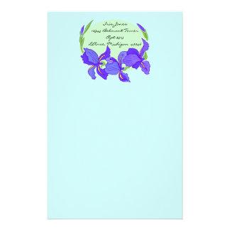 Lovely Indigo Blue Purple Iris on Blue Stationery