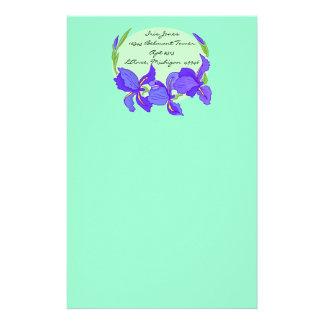 Lovely Indigo Blue Purple Iris on mint Stationery