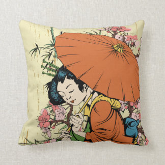 lovely japanese geisha vector art throw pillow