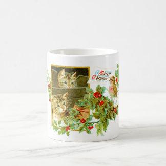 Lovely Kitties and Robin | Cute Vintage Christmas Coffee Mug