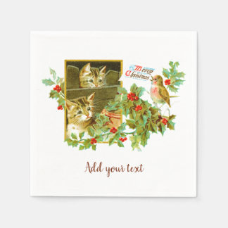 Lovely Kitties and Robin | Cute Vintage Christmas Disposable Napkin