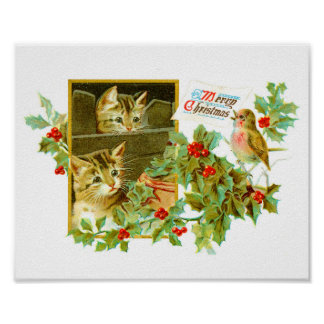 Lovely Kitties and Robin | Cute Vintage Christmas Poster