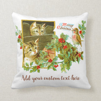 Lovely Kitties and Robin | Cute Vintage Christmas Throw Pillow