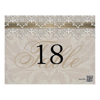 Lovely Lace & Burlap Chic Table Number PostCard