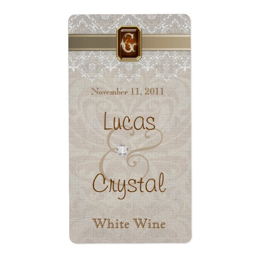 Lovely Lace & Burlap Chic Wedding Wine Label