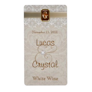 Lovely Lace & Burlap Chic Wedding Wine Label Shipping Label