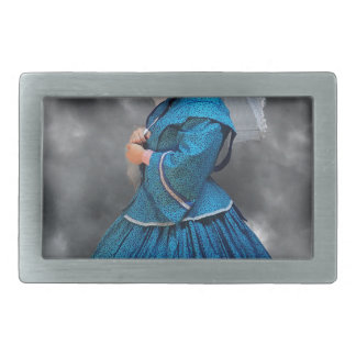 Lovely Lady in blue living in the 1860's Belt Buckles