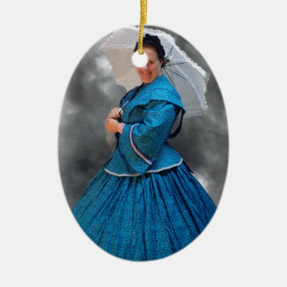 Lovely Lady in blue living in the 1860's Ceramic Oval Ornament