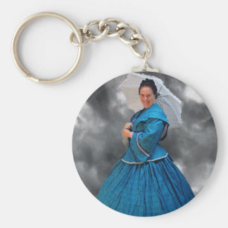 Lovely Lady in blue living in the 1860's Keychain