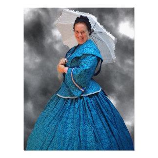 Lovely Lady in blue living in the 1860's Letterhead
