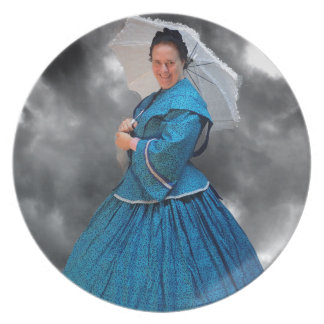 Lovely Lady in blue living in the 1860's Party Plate