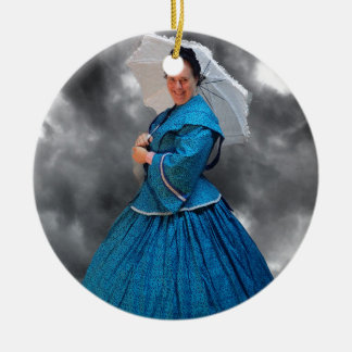 Lovely Lady in blue living in the 1860's Round Ceramic Ornament