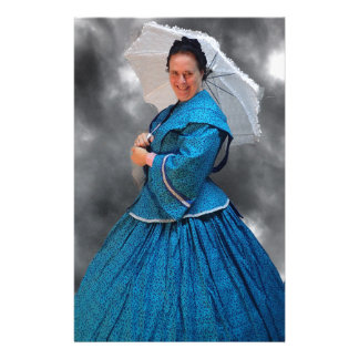 Lovely Lady in blue living in the 1860's Stationery