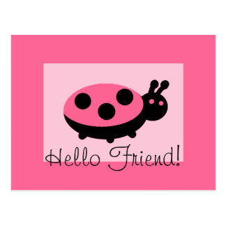 "Lovely Ladybug ""Hello Friend"" Postcard"