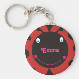 Lovely Ladybug Personalized Name Keyrings Basic Round Button Keychain