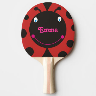 Lovely Ladybug Personalized Name Ping Pong Paddle