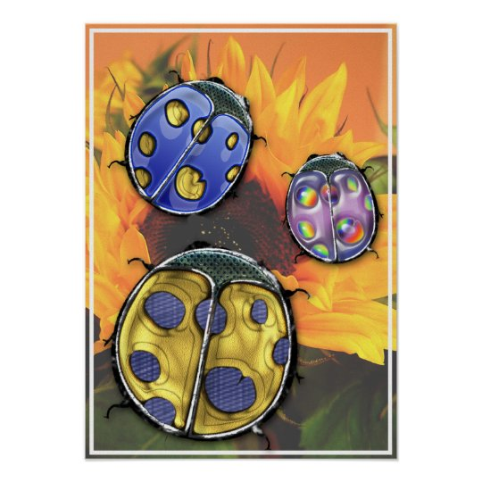 Lovely Ladybugs on a Sunflower Poster
