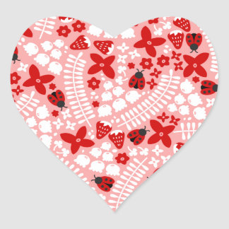 Lovely Ladybugs (Pink) Heart Sticker