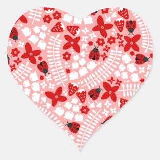 Lovely Ladybugs (Pink) Heart Sticker