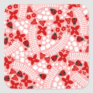 Lovely Ladybugs (Pink) Square Stickers