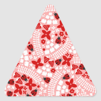 Lovely Ladybugs (Pink) Triangle Sticker