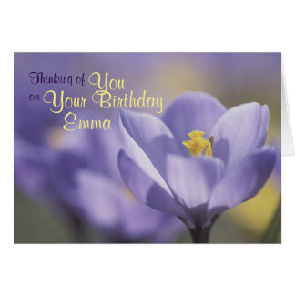 Lovely Lavender Crocus Flower Close Up Photograph Card