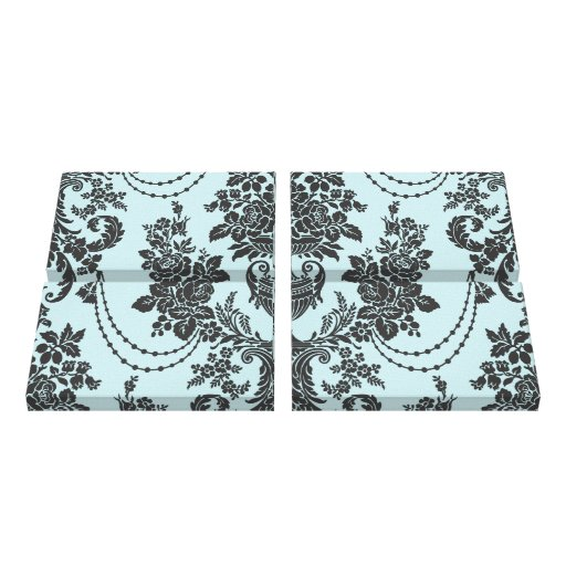 lovely light blue black roses damask gallery wrapped canvas