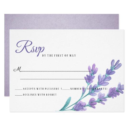 Lovely Light Purple Lavender Flowers Wedding RSVP Card