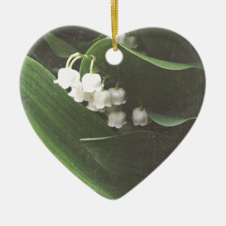 Lovely Lily of the Valley Ceramic Heart Ornament
