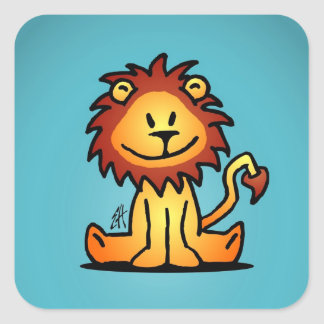Lovely Lion Square Sticker