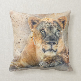 Lovely Lioness Photography Modern Watercolor Throw Pillow