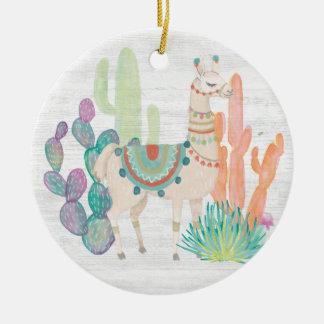 Lovely Llamas II Ceramic Ornament