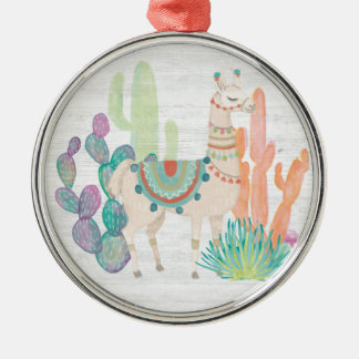 Lovely Llamas II Metal Ornament