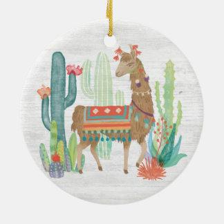 Lovely Llamas III Ceramic Ornament