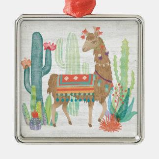 Lovely Llamas III Metal Ornament
