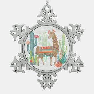 Lovely Llamas III Snowflake Pewter Christmas Ornament
