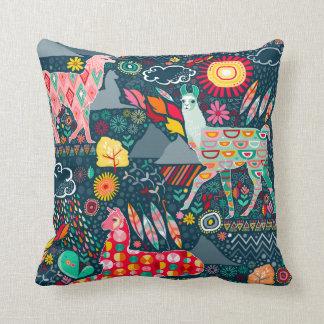 Lovely Llamas on Blue - Throw Pillow
