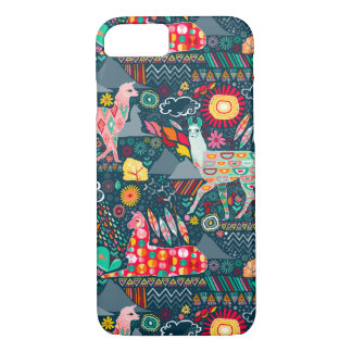 Lovely Llamas on Dark Teal iPhone 8/7 Case