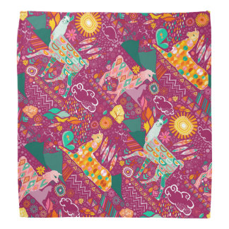 Lovely Llamas on Purple Bandana