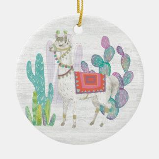 Lovely Llamas V Ceramic Ornament