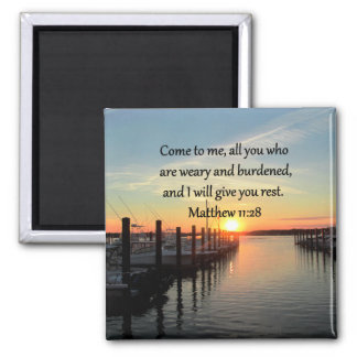 LOVELY MATTHEW 11:28 SUNSET SCRIPTURE SQUARE MAGNET