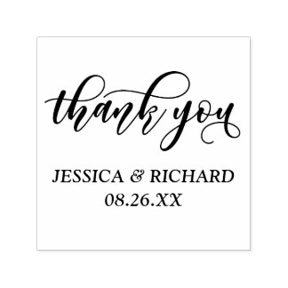 Lovely Modern Calligraphy Wedding Thank You Self-inking Stamp