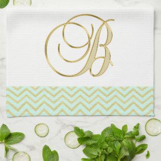 Lovely Monogram Letter B Gold Mint Chevron Kitchen Kitchen Towel