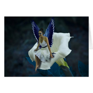 Lovely Moon Fairy with a White Moon Flower Card