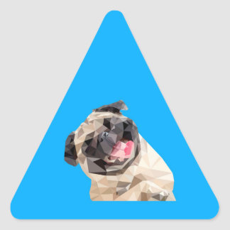 Lovely mops dog triangle sticker
